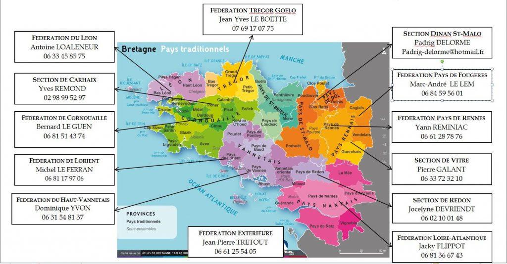 Les fédérations et sections du Parti Breton.